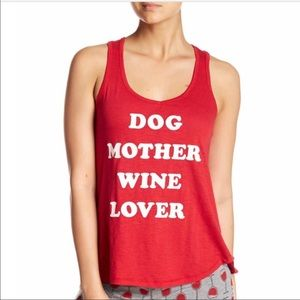 M Dog mother wine lover Tshirt  tank euc